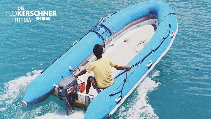 Flo Kerschner im Schlauchboot!